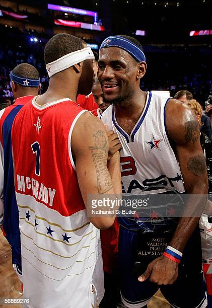 AllStar Game Most Vaulable Player LeBron James of the Eastern Conference is congratulated by Tracy McGrady of the Western Conference during the 2006...