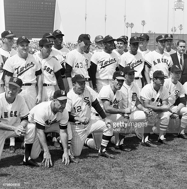 BASEBALL '1967 AllStar Game' Pictured American League team California Angels coach Bill Rigney Baltimore Orioles manager Hank Bauer Chicago White Sox...