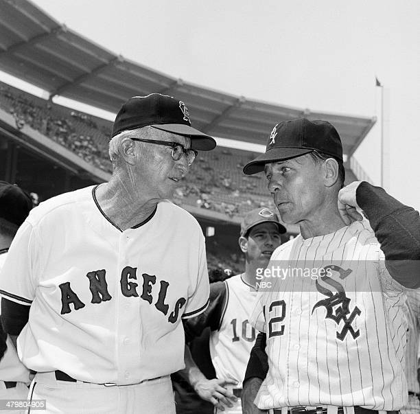 BASEBALL 1967 AllStar Game Pictured California Angels coach Bill Rigney White Sox coach Eddie Stanky during the 1967 AllStar Game held at at Anaheim...