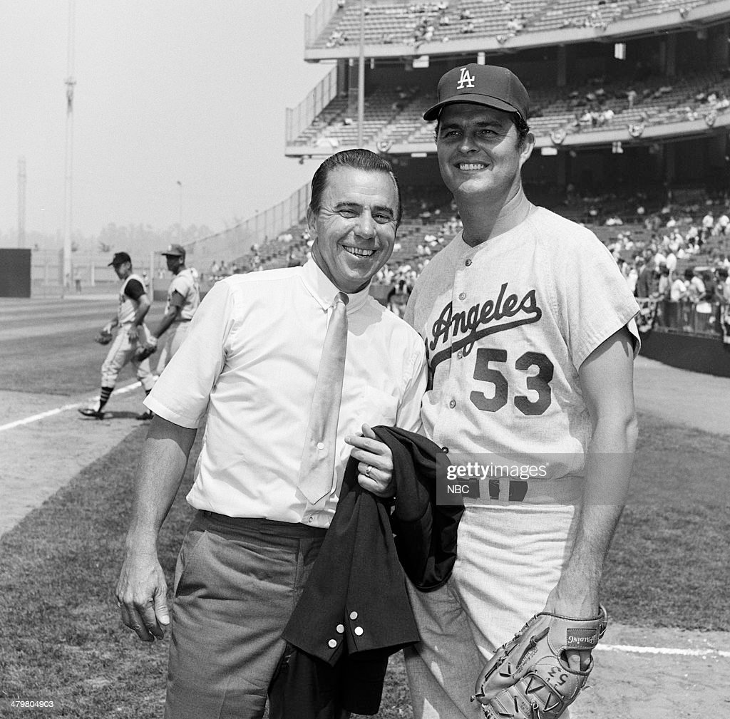 BASEBALL -- '1967 All-Star Game' -- Pictured: (l-r) NBC Sports' Pee Wee Reese, Los Angeles Dodgers' Don Drysdale during the 1967 All-Star Game held at at Anaheim Stadium in Anaheim, California on July 11, 1967 --