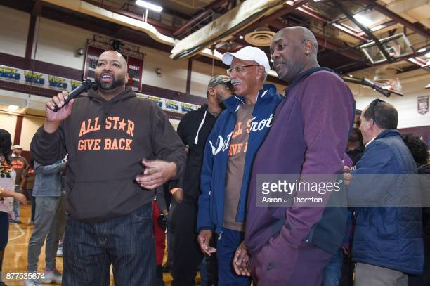 AllStar Giveback Founder Tarence Wheeler Former Detroit Mayor Dave Bing and Former NBA player Gary Payton attend the 2017 Annual AllStar Giveback...