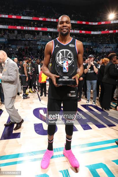 AllStar MVP Kevin Durant of Team LeBron poses for a photo after the 2019 NBA AllStar Game on February 17 2019 at the Spectrum Center in Charlotte...