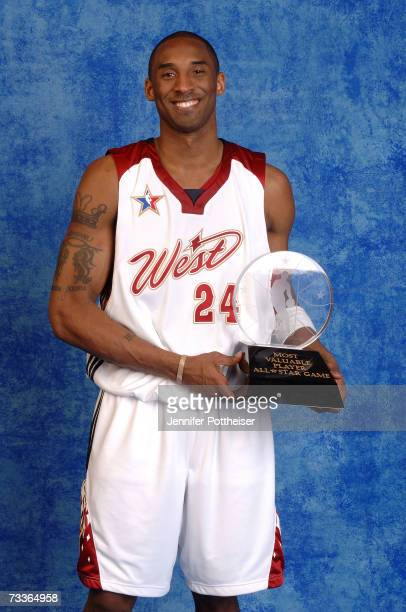 AllStar MVP Kobe Bryant of the Los Angeles Lakers poses for a portrait with the MVP trophy during the 2007 NBA AllStar Game on February 18 2007 at...