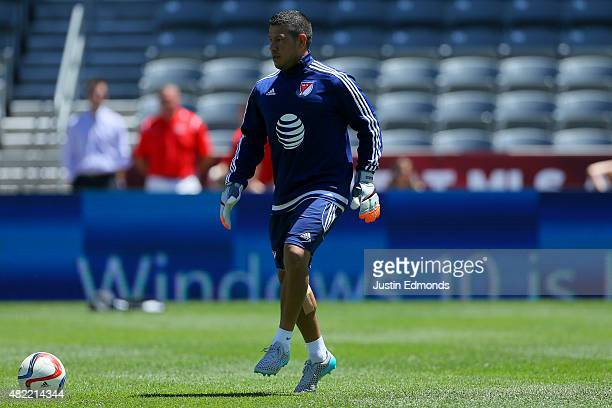 AllStar Nick Rimando of the Real Salt Lake works out during training ahead of the MLS AllStar Game against the Tottenham Hotspur at Dick's Sporting...