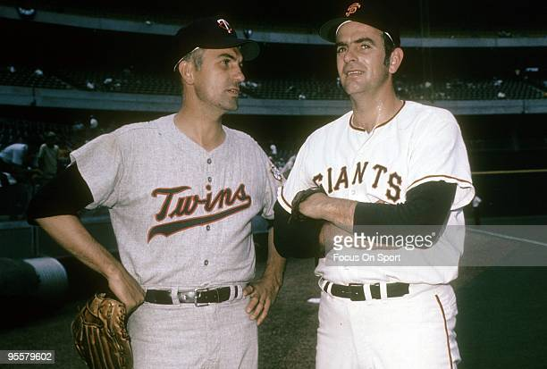 Allstar Pitcher Gaylord Perry of the San Francisco Giants with his brother allstar pitcher Jim Perry of the Minnesota Twins before the Major League...