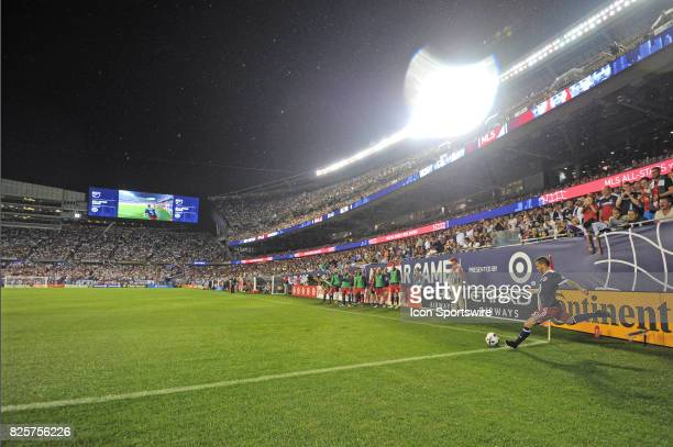 AllStar Sebastian Giovinco takes a corner kickin the first half during a soccer match between the MLS AllStars and Real Madrid on August 2 at...