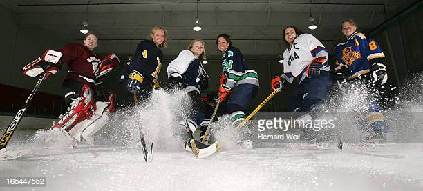 AllStarHock_BW02_032805_Members of the Annual Toronto Star high school girls hockey allstars March 28 at Beatrice Ice Gardens York University Left to...