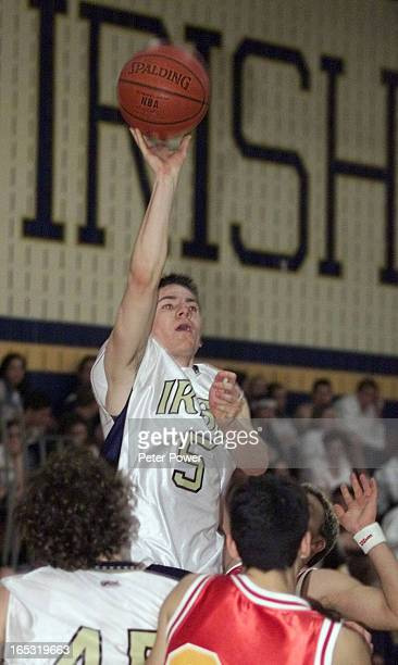 Pix of Notre Dame Highschool's shooting guard Rob Scully @#5 during a game against Nelson HS at Notre Dame in Burlington Neslon won this game with a...