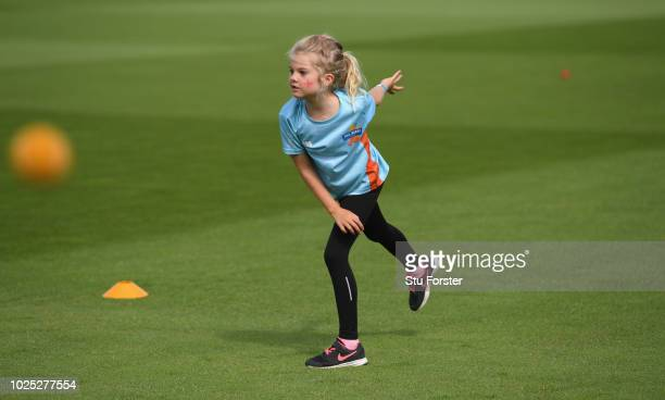 Allstars cricket children pictured during day one of the 4th Specsavers Test Match between England and India at The Ageas Bowl on August 30, 2018 in...