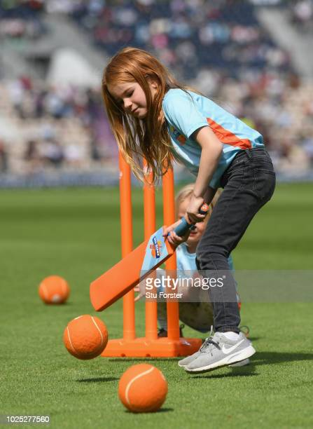 Allstars cricket children pictured during day one of the 4th Specsavers Test Match between England and India at The Ageas Bowl on August 30 2018 in...