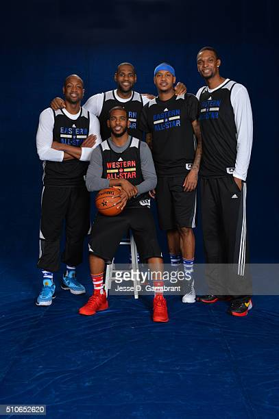 AllStars Dwyane Wade LeBron James Carmelo Anthony Chris Bosh and Chris Paul poses for a portrait during NBA AllStar Weekend on February 13 2016 in...