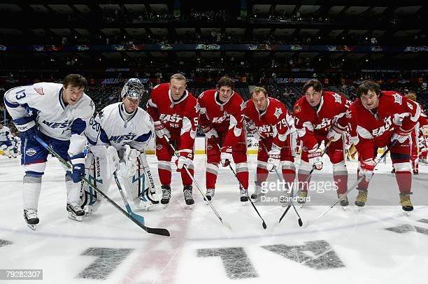 AllStars Pavel Datsyuk of the Detroit Red Wings Evgeni Nabokov of the San Jose Sharks Sergei Gonchar of the Pittsburgh Penguins Evgeni Malkin of the...