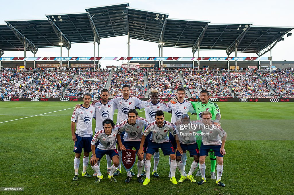 MLS All-Stars pose for a group photo before the 2015 AT&T Major League Soccer All-Star game against the Tottenham Hotspur at Dick's Sporting Goods Park on July 29, 2015 in Commerce City, Colorado.