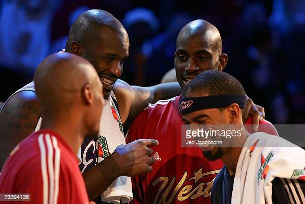 AllStars Ray Allen Shaquille O'Neal Kevin Garnett and Richard Hamilton laugh following the 2007 NBA AllStar Game on February 18 2007 at Thomas Mack...