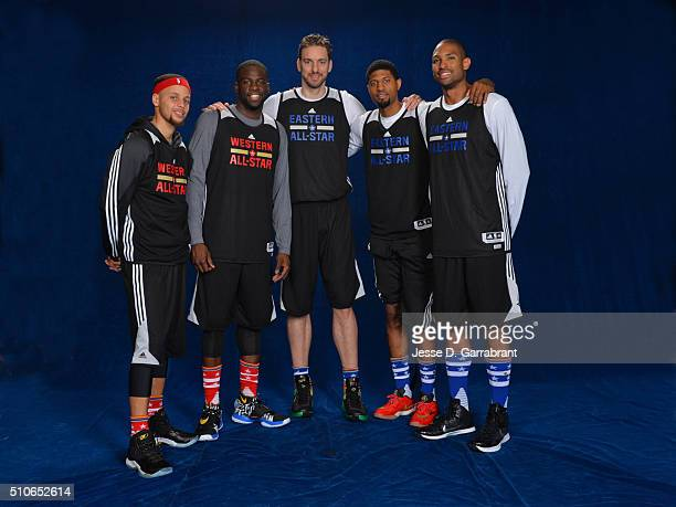 AllStars Stephen Curry Draymond Green Pau Gasol Paul George and Al Horford poses for a portrait during NBA AllStar Weekend on February 13 2016 in...