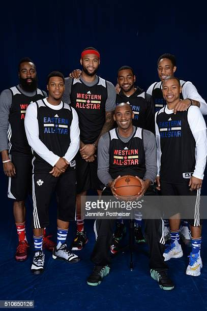 AllStarts James Harden DeMarcus Cousins John Wall DeMar DeRozan Kyle Lowry Kobe Bryant and Isaiah Thomas pose for a portrait during NBA AllStar...