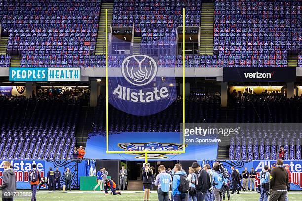 Allstate net being tested before the game between the Auburn Tigers and the Oklahoma Sooners on January 02 2017 at the MercedesBenz Superdome in New...