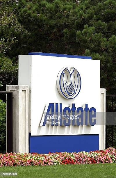 Allstate signage is seen outside the company's corporate campus August 30 2005 in Northbrook Illinois Damage from Hurricane Katrina may destroy...