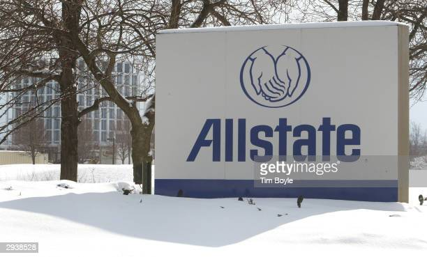 Allstate signage is visible in front of the tower building located on its headquarters property February 6 2004 in Northbrook Illinois Northbrook...