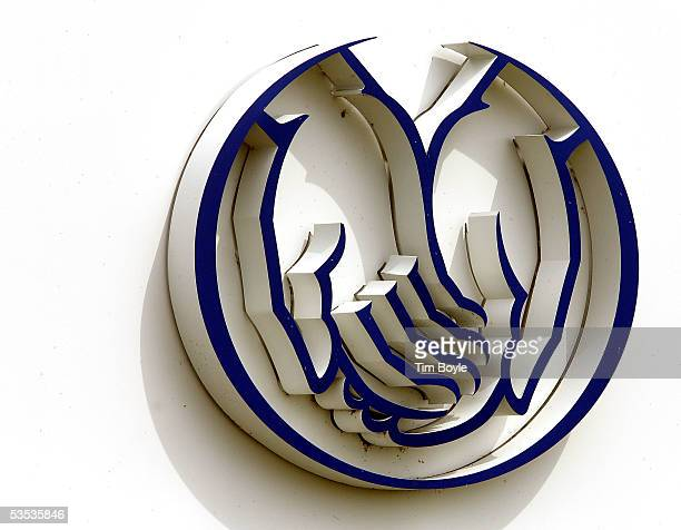 Allstate's 'Good Hands' logo is seen outside the company's corporate campus August 30 2005 in Northbrook Illinois Damage from Hurricane Katrina may...