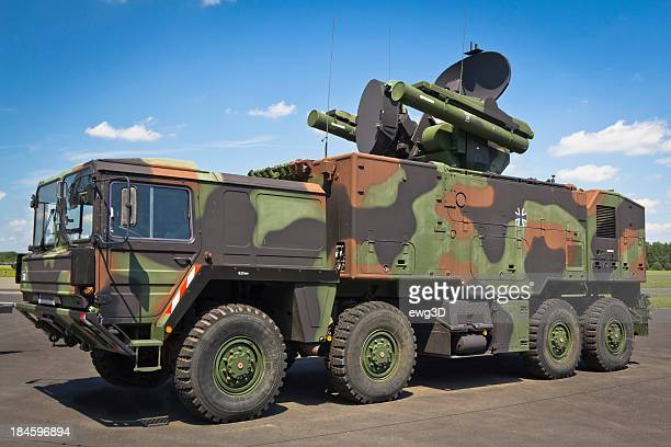 all-terrain truck with  short-range air missile - weaponry stock pictures, royalty-free photos & images