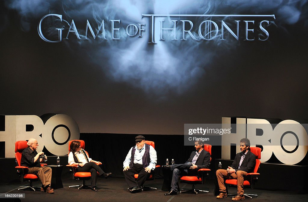 AllThingsD's Walt Mossberg, Kara Swisher, Creator George R.R. Martin, Writer/producer D.B. Weiss and writer/executive producer David Benioff speak during HBO's 'Game Of Thrones' Season 3 at Palace Of Fine Arts Theater on March 20, 2013 in San Francisco, California.