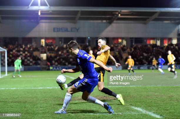 allum Wright of Leicester City gets his cross in during the Leasingcom quarter final match between Newport County and Leicester City U21 at Rodney...