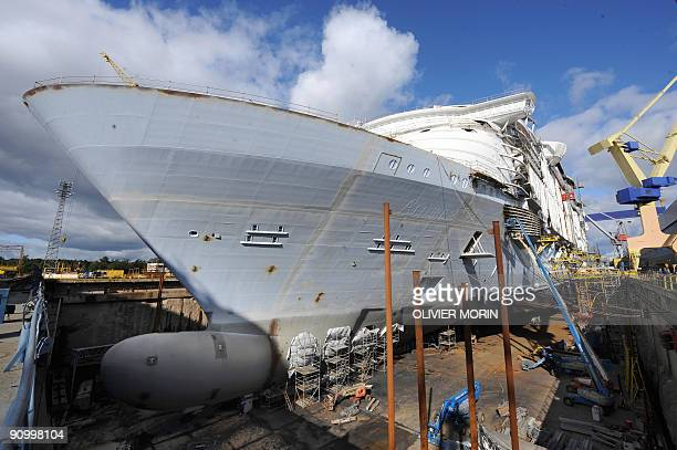 Allure of The seas sistership of Royal Caribbean's Oasis of the Seas cruise ship is on construction at the STX Europe shipyard in Turku September 17...