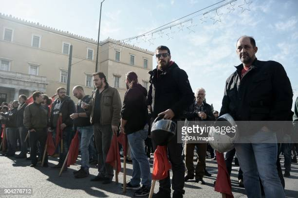 AllWorkers Militant Front members seen taking part during the demonstration against the voting of the new Multibill of the third evaluation