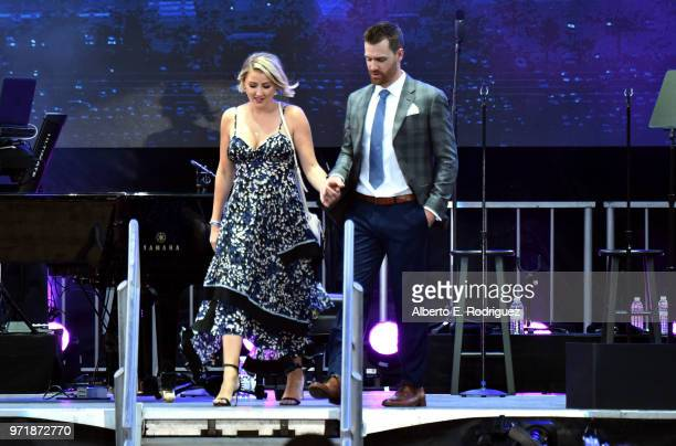 Ally Atkins Forsythe and Logan Forsythe attend the Fourth Annual Los Angeles Dodgers Foundation Blue Diamond Gala at Dodger Stadium on June 11, 2018...