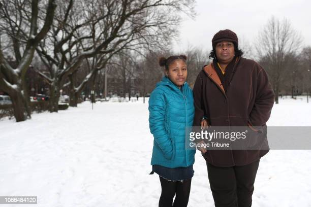 Ally Bridges stands with her mother Glenda outside Chicago's Senn High School on Jan 23 2019 Ally started an Instagram account to protest R Kelly and...