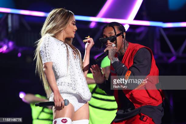 Ally Brooke and Tyga perform onstage at 2019 iHeartRadio Wango Tango presented by The JUVÉDERM® Collection of Dermal Fillers at Dignity Health Sports...