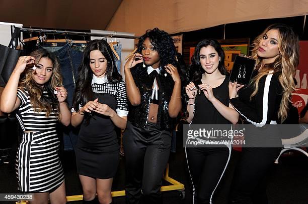 "Ally Brooke, Camila Cabello, Normani Hamilton, Lauren Jauregui and Dinah Jane Hansen of ""5th Harmony"" attend the 2014 American Music Awards UPS..."