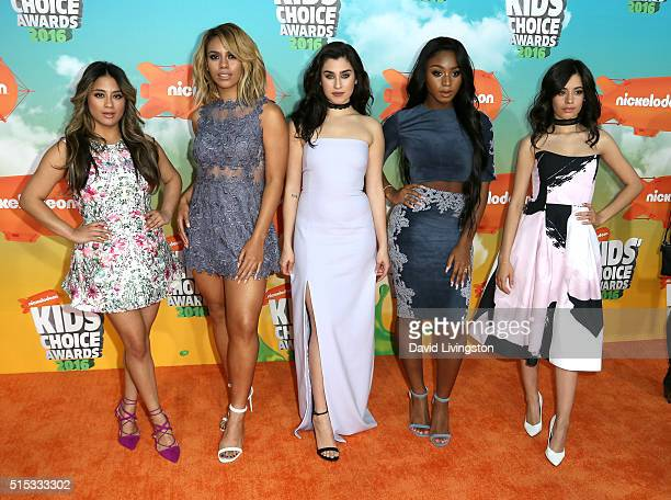 Ally Brooke Dinah Jane Lauren Jauregui Normani Kordei and Camila Cabello of Fifth Harmonyattend Nickelodeon's 2016 Kids' Choice Awards at The Forum...