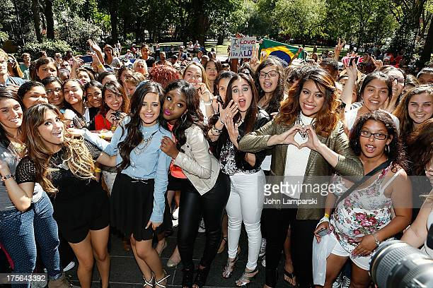 Ally Brooke Hernandez Camila Cabello Normani Hamilton Lauren Jaurequi and Dinah Jane Hansen of Fifth Harmony Visit Madison Square Park on August 5...