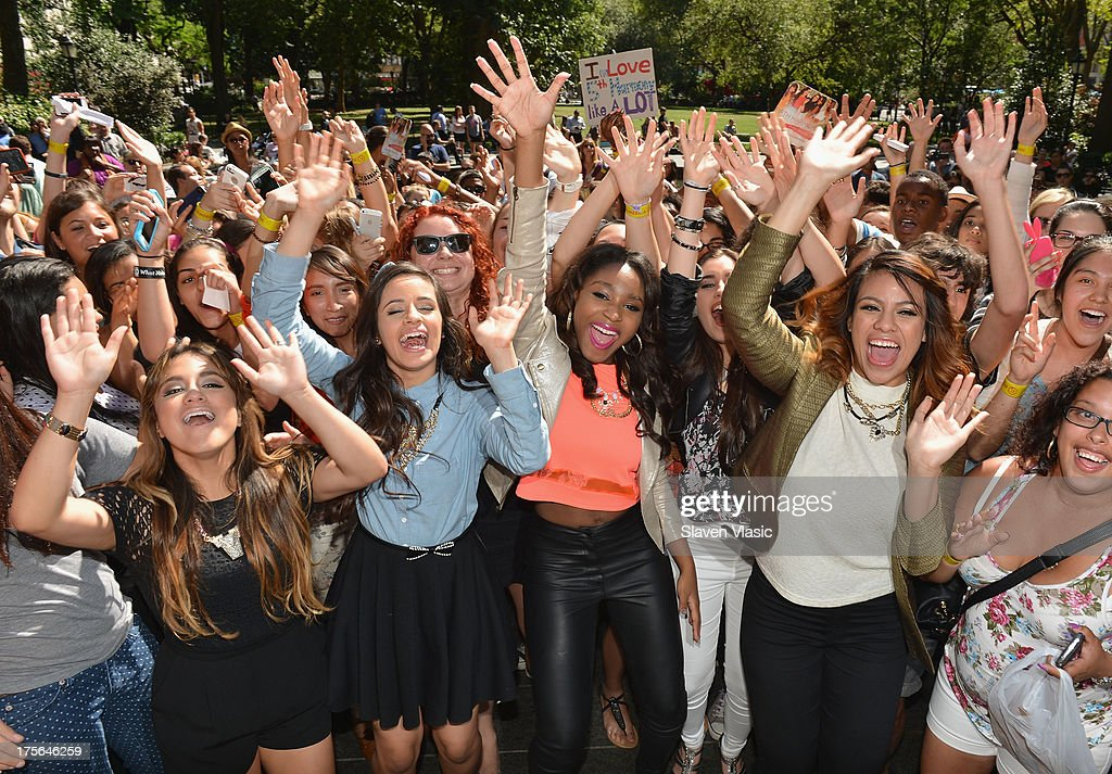 Ally Brooke Hernandez, Camila Cabello, Normani Hamilton, Lauren Jaurequi and Dinah Jane Hansen of Fifth Harmony visit Madison Square Park on August 5, 2013 in New York City.