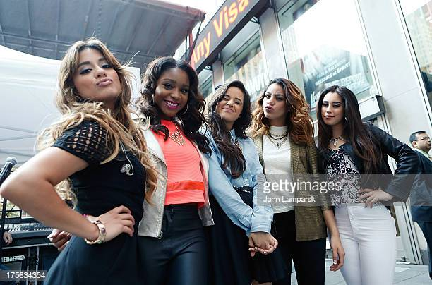 Ally Brooke Hernandez Normani Hamilton Camila Cabello Dinah Jane Hansen and Lauren Jauregui of Fifth Harmony performs during FOX Friends outside of...