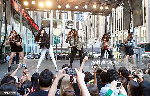 Ally Brooke Hernandez Normani Hamilton Lauren Jauregui Dinah Jane Hansen and Camila Cabello of Fifth Harmony performs during FOX Friends outside of...