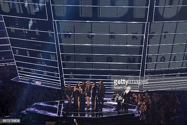 Ally Brooke Lauren Jauregui Normandi Kordei Dinah Jane Hansen and Camila Cabello of Fifth Harmony and Ty Dolla $ign accept the award for Best...