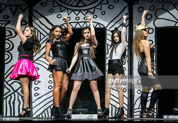 Ally Brooke, Normani Hamilton, Lauren Jauregui, Camila Cabello, and Dinah-Jane Hansen of Fifth Harmony performs in concert at The Palace of Auburn...