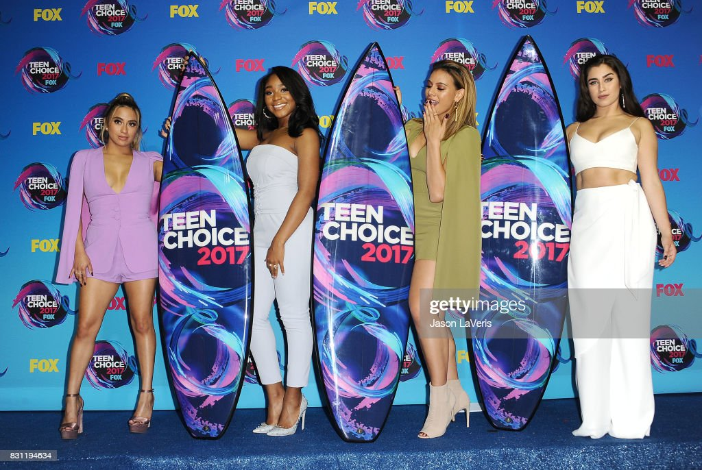 Ally Brooke, Normani Kordei, Dinah Jane and Lauren Jauregui of Fifth Harmony pose in the press room at the 2017 Teen Choice Awards at Galen Center on August 13, 2017 in Los Angeles, California.
