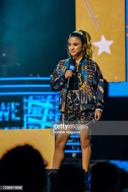 Ally Brooke speaks on stage during the 2018 WE Day Toronto Show at Scotiabank Arena on September 20 2018 in Toronto Canada