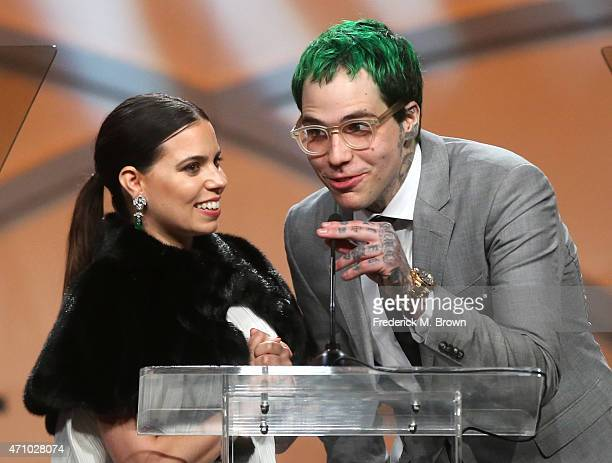 Ally Hilfiger and Richard Hilfiger speak onstage during the 22nd Annual Race To Erase MS Event at the Hyatt Regency Century Plaza on April 24, 2015...