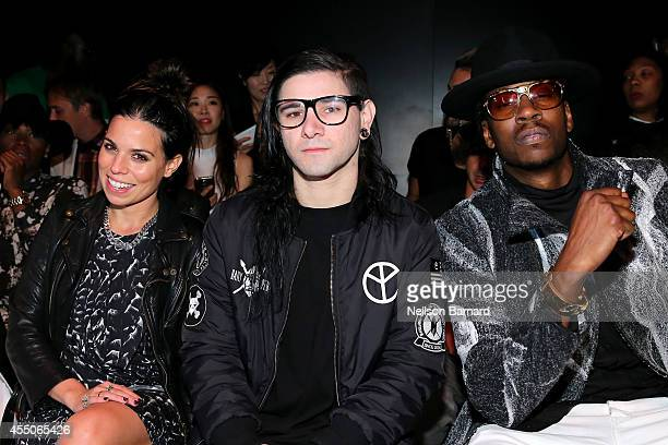 Ally Hilfiger, Skrillex, and 2 Chainz attend the Skingraft fashion show during Mercedes-Benz Fashion Week Spring 2015 at The Pavilion at Lincoln...