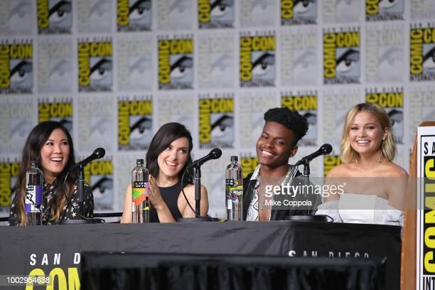 Ally Maki Emma Lahana Aubrey Joseph and Olivia Holt speak onstage at Marvel Television Marvel's Cloak Dagger panel during ComicCon International 2018...