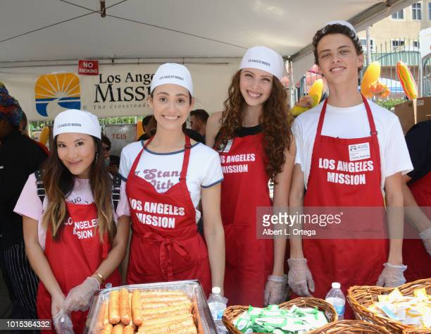Ally Maki Emmy Rossum Sadie Radinsky and Jackie Radinsky participate in The Los Angeles Mission's End Of Summer Art And Education Fair held at Los...