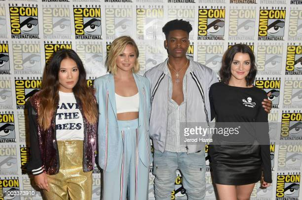 Ally Maki Olivia Holt Aubrey Joseph and Emma Lahana attend the 'Marvel's Cloak Dagger' Press Line during ComicCon International 2018 at Hilton...