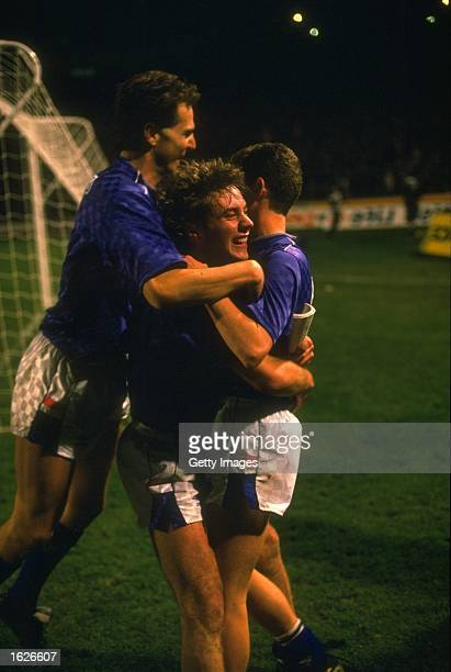 Ally McCoist and Davie Cooper of Rangers celebrate Ian Durrant's goal during the Skol Cup final match against Aberdeen in Scotland Rangers won 53 on...