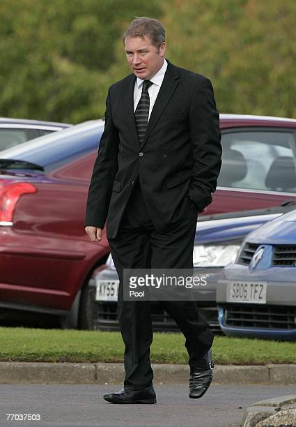 Ally McCoist arrives for the funeral of Colin McRae and son Johnny at East Chapel, Daldowie Crematorium on September 26, 2007 in Glasgow, Scotland....