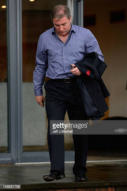 Ally McCoist coach of Rangers leaves Ibrox Stadium on April 24 2012 in Glasgow Scotland Rangers have received a 12 month transfer embargo and a GBP...